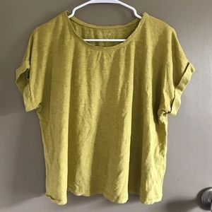Eileen Fisher Pea Green Boxy Tee Top Hemp XS